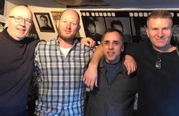 Taken at Sunshine Corner Studios. Those involved in making the album: L-R James Walsh, Smiley Barnard, Pete Kirby, Bill Newton.