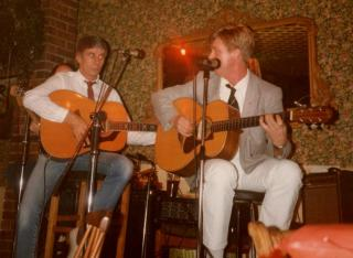 Stan with Joe Brown on stage at Trencher's Wine Bar, Middlesbrough in 1984.