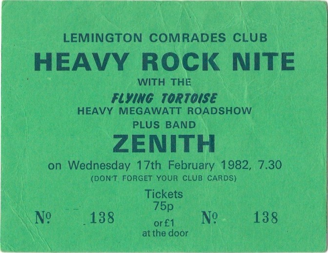 Ticket for the Lemington Comrades Club, 1982.