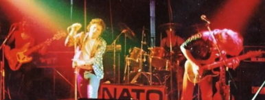 The band NATO, with Dave Simpson on vocals, john Ward drums, Mick Proctor lead guitar and Graham Brown on drums. Date and venue unknown.