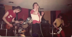 Paul in the band Zenith at a gig in the,Lemington Comrades Club. Lead guitarist Dave Shaw (The Force). Paul Atkinson on drums with the late Tony Lawson on bass.